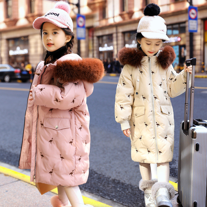 2020 Russian Winter Down Jacket for Girls Clothes Parkas Faux Fur Hooded Waterproof Girls Snowsuit -30 Degrees Coats for Kids