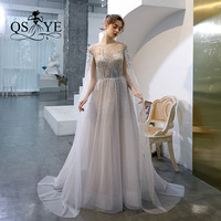 QSYYE 2019 ever pretty Long Prom Dresses tulle o neck cape vestidos largos Beading Floor Length Formal Evening Dress Party Gown