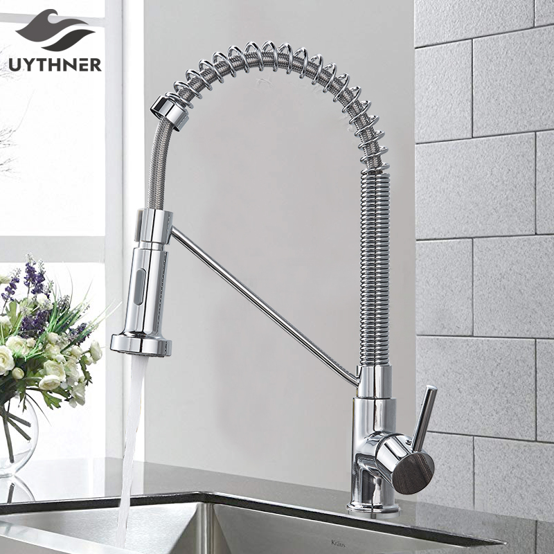 Kitchen Spring Faucet Water-Mixer Chrome/black-Style Tap Pull-Down Single-Handle 360-Rotation
