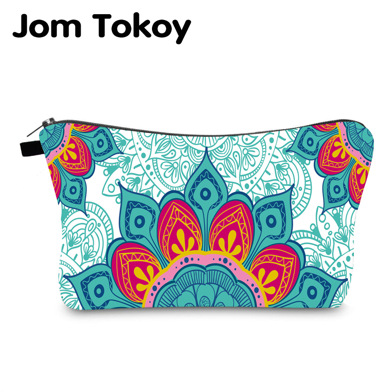 Jomtokoy Women Mandala Printing PatternTravel Cosmetic Bag Makeup Bag Handbag Female Zipper Purse Small Cosmetics Make Up Bags
