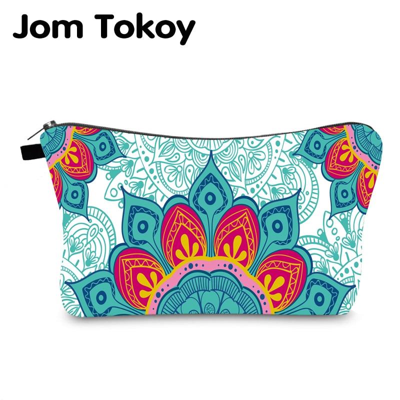 Jomtokoy Women Mandala Printing PatternTravel Cosmetic Bag Makeup Bag Handbag Female Zipper Purse Small Cosmetics Make Up Bags