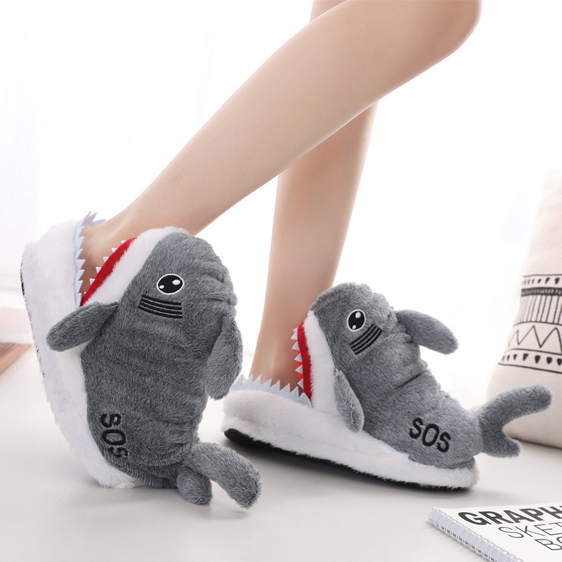 Women Shark Slippers Non-Slip Indoor Home Warm Shoes For Woman's Animal Design Comfy Cute Winter Soft Cozy Plush Gift Shoes Grey