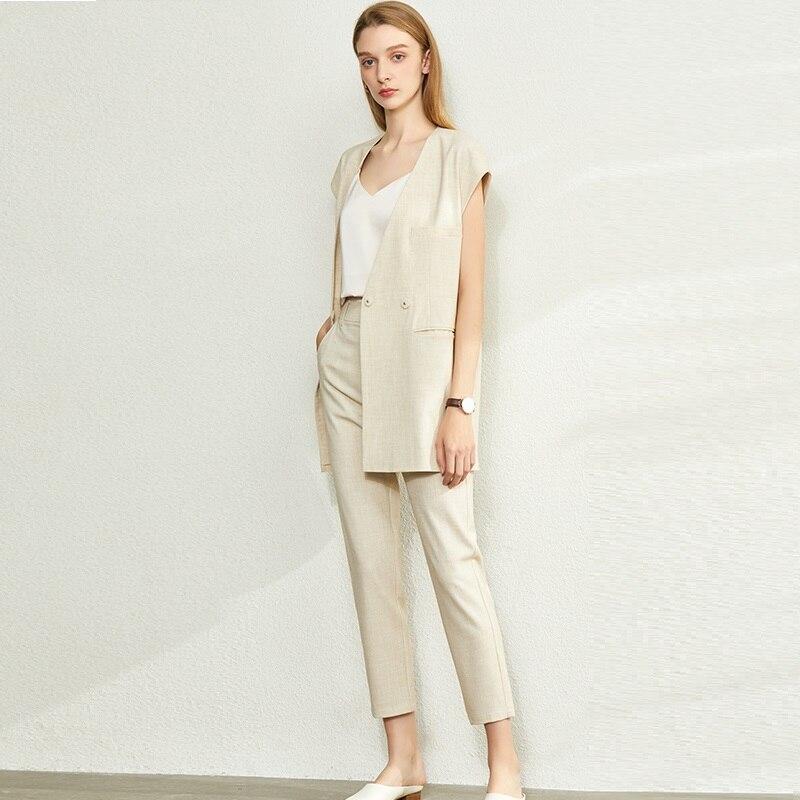 2020 Vogue Fashion Woman 2 piece Pant Vest Set.OL Coordinates Formal Clothing Set