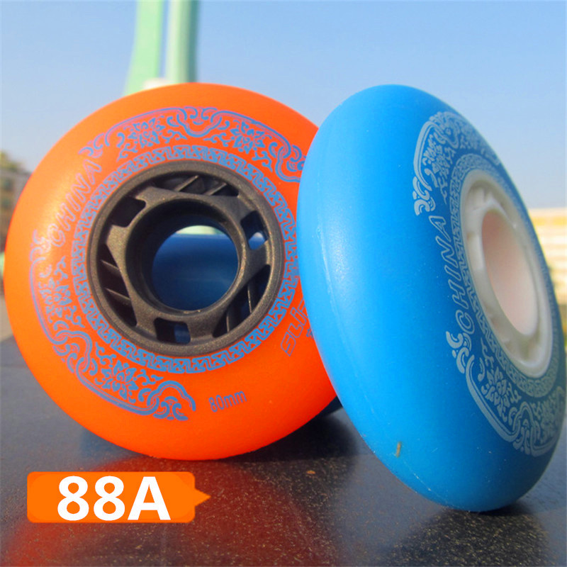 Famous Chinese Branded Slide Wheel For Sliding Inline Skates, 88A With Orange Blue 80mm 76mm 72mm 4 Pcs/lot