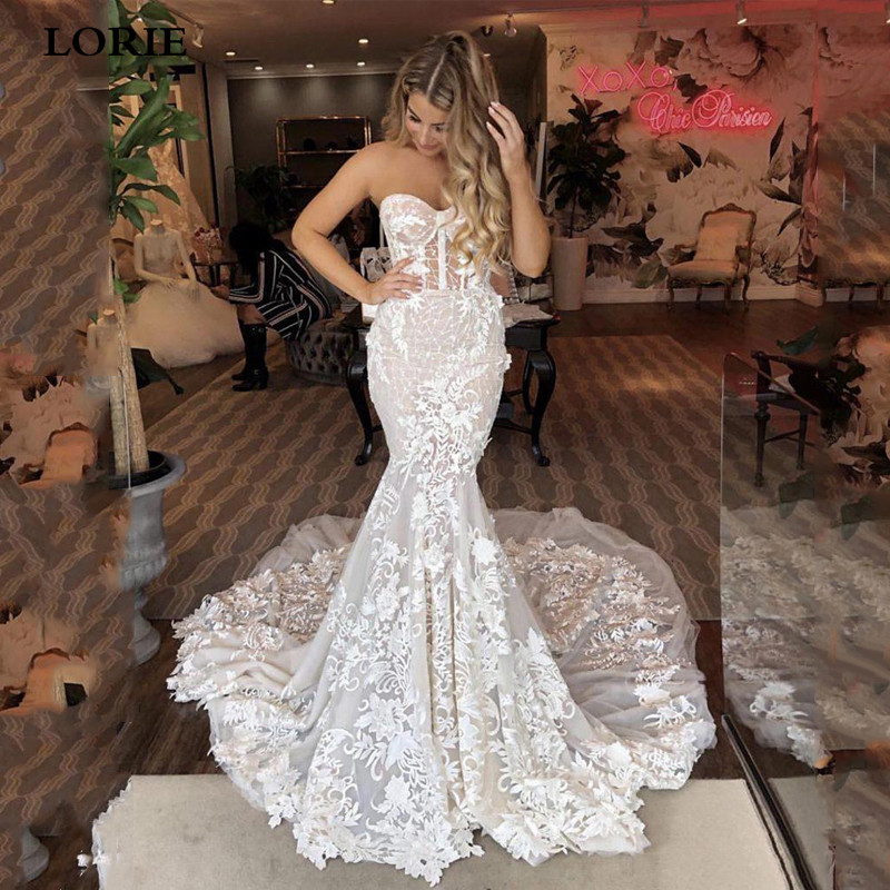 LORIE Mermaid Wedding Dress Sweetheart Bride Dress Appliqued With Flowers Lace Boho Wedding Gown Vestidos De Novia