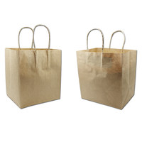 150Pcs Wholesale Brown Kraft Paper Gift Bag With Handle Clothes Cosmetic Food Packaging Recyclable Shopping Bags 4 Sizes