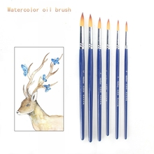 Set of 6 Pieces Watercolor Brush Hook Line Art Brush Blue Birch Pole with Nylon Tip set of 6 pieces cotton box set of 6 pieces