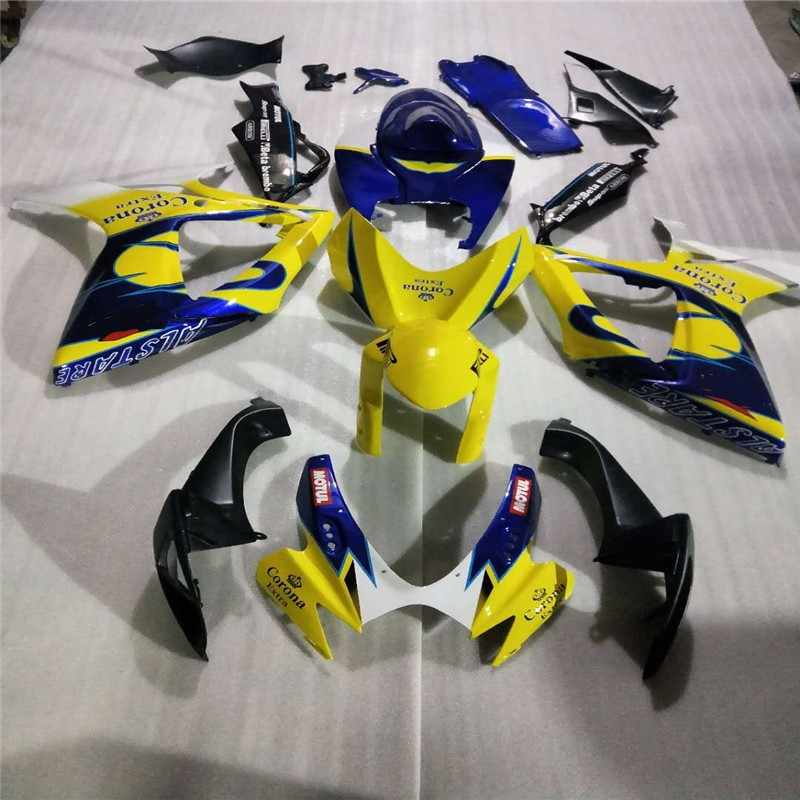 Yellow blue Motorcycle Fairing Kit for SUZUKI GSXR 600 750 K6 06 07 SUZUKI GSXR600 GSXR750 2006 2007 ABS corona parts Fairings