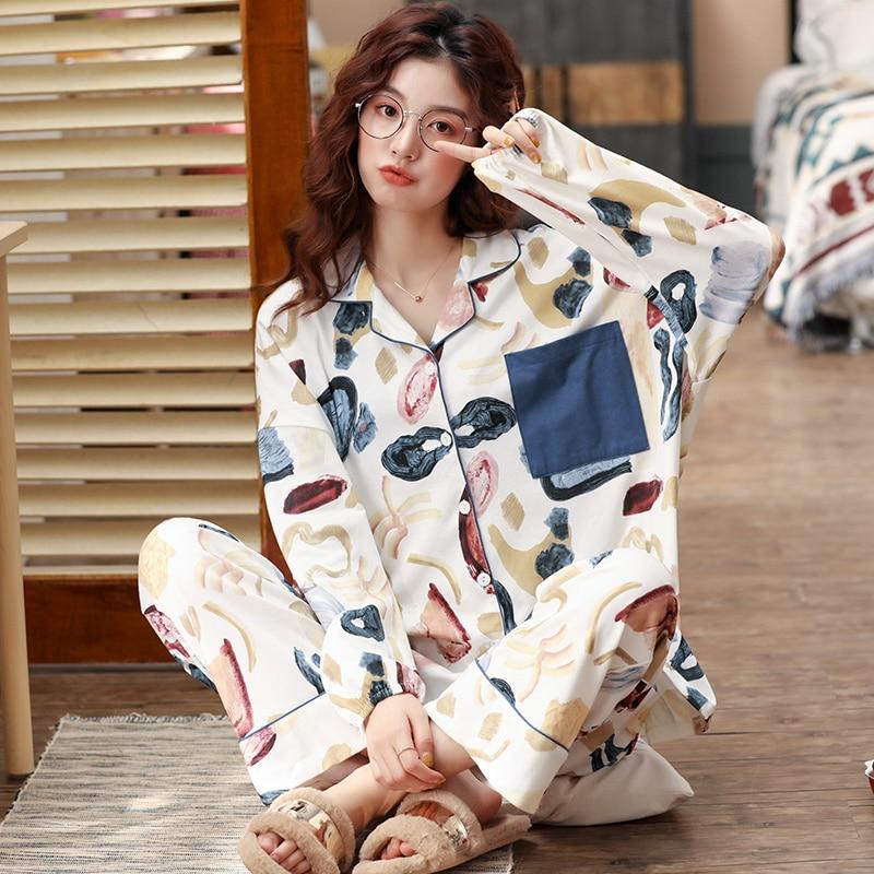 Autumn New Female Pajamas Set Abstract Pattern 100%Cotton Sweet Cute Sleepwear Set Women Turn-down Collar Female Casual Homewear