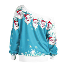 Woman Casual Sweater Ugly Christmas Sweater Santa Claus Printed Loose Sexy Snowflake Pullover Autumn Winter Tops Xmas Clothing snowflake printed and santa claus pullover hoodie