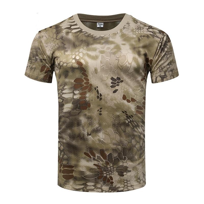 Degli uomini di Camo di Combattimento Tattico Camicia a Maniche Corte Quick Dry T-Shirt Camouflage Caccia Esterna Camicette Esercito Militare T Shirt