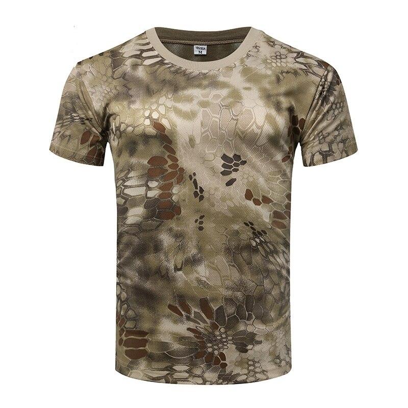 Pria Camo Tempur Taktis Kemeja Lengan Pendek Cepat Kering T-shirt Kamuflase Luar Ruangan Berburu Kemeja Tentara Militer T Shirt
