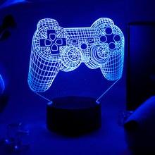 Iluminação da sala de jogos decoração 3d visão led night light console do jogo controlador ps ícone lâmpadas luz da noite para o quarto