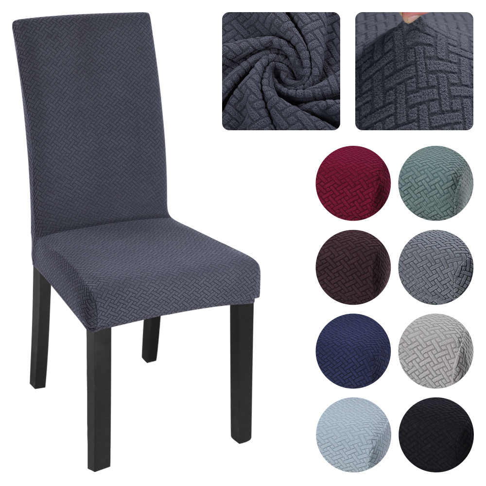 1/2/4/6Pc Polar Fleece Fabric Thick Soft Slipcovers Solid Color Chair Cover Elastic Office Chair Banquet Hotel Seat Chair Covers