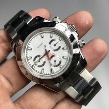 Luxury white dial watches Men 40mm Crownon glassWatchall small works black Dialday ton Ceramic Bezel Mechanical Watches