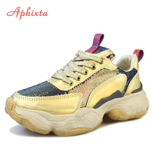 Aphixta Shoes Women Platform Bling Sneakers Running Sport Breathable Sequined Cloth Woman Boots