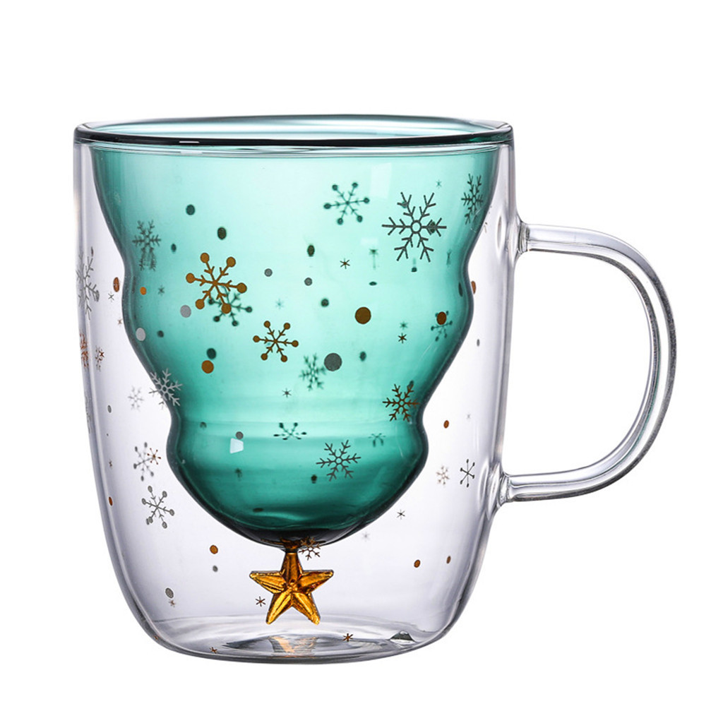 Christmas Tree Glass Cup Coffee Milk Tea Cup Double Transparent Glass Star Beer Wine Whisky Glasses Reusable Bar Accessories D#