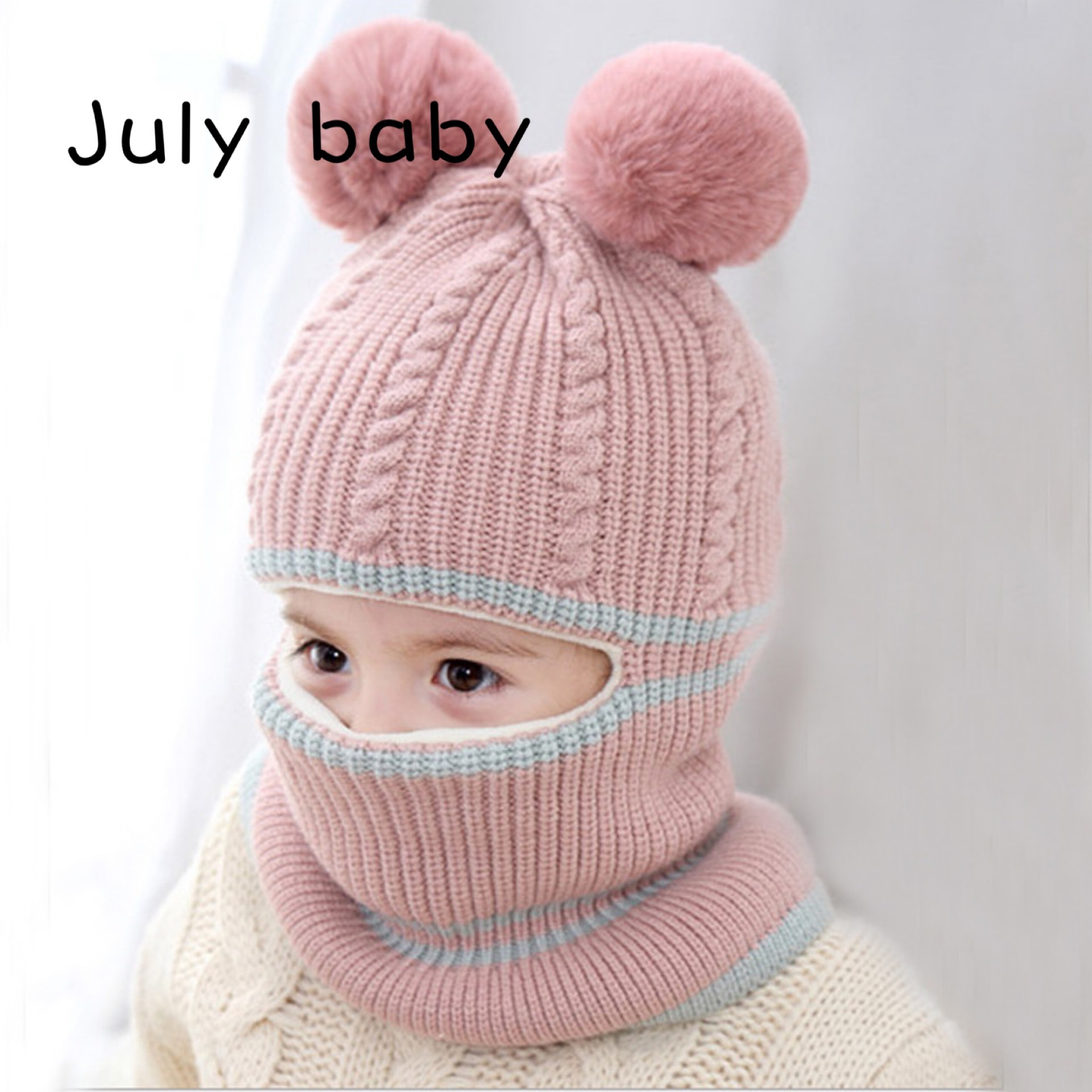 July Baby Scarf Headdress Wool Hat Winter Baby Plus Fluffy Ball Cap Children's Windproof Cold Hooded Earmuffs 2-5 Years Old