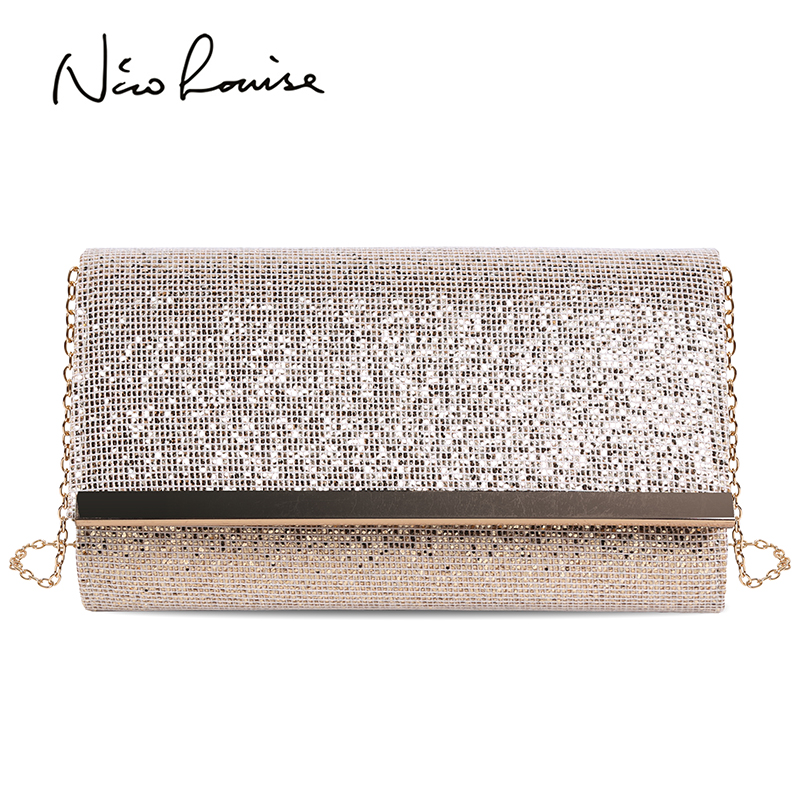 Fashion Women Evening Clutch Bag Handbags Female Day Clutch Wedding Purse Party Banquet Pink/Gold/Silver Chain Shoulder Bags