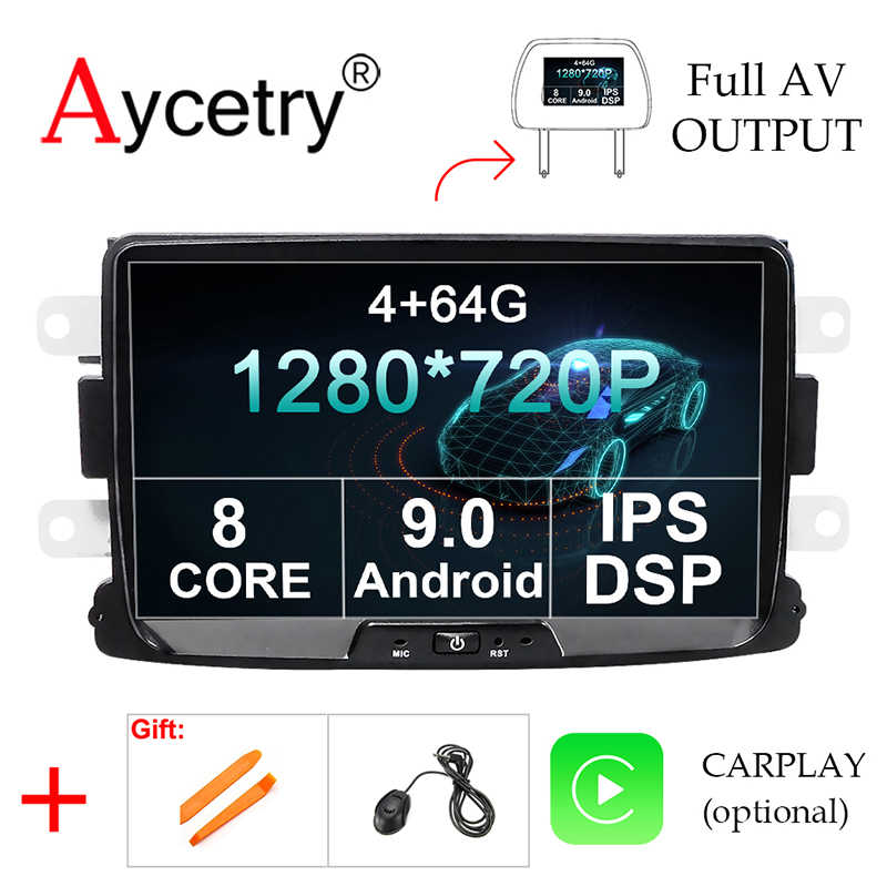 DSP IPS untuk Duster/Logan/Dacia/Sandero/Captur/Lada/Xray 2/Logan 2 4G 64G 8 Core Android 10 Mobil Multimedia DVD GPS Radio Player
