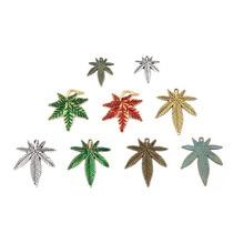 50pcs/Lot Tibetan Silver Alloy Pendants Charms - 25x22mm Marijuana Weed Leaf