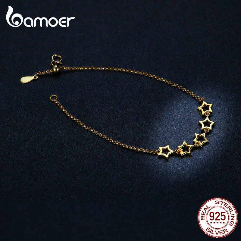Bamoer Stars Chain Bracelet dla kobiet złoty kolor prawdziwe 925 Sterling Silver biżuteria anit-allorgy prezenty dla dziewczyny SCB162