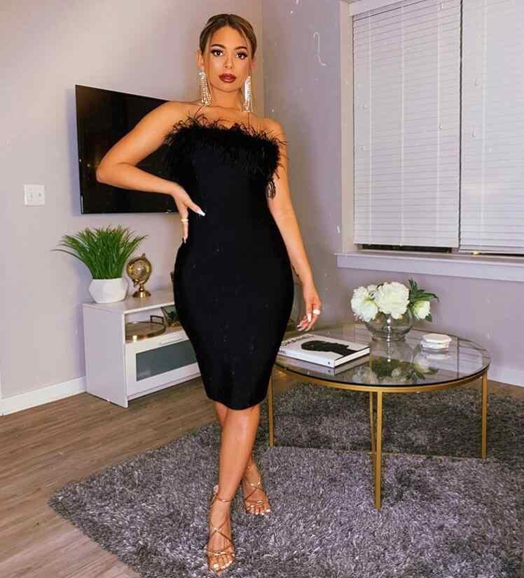 新ファッションセクシーなストラップレス背中の羽ブラックボディコン包帯ドレス 2020 デザイナーファッションパーティードレス Vestido