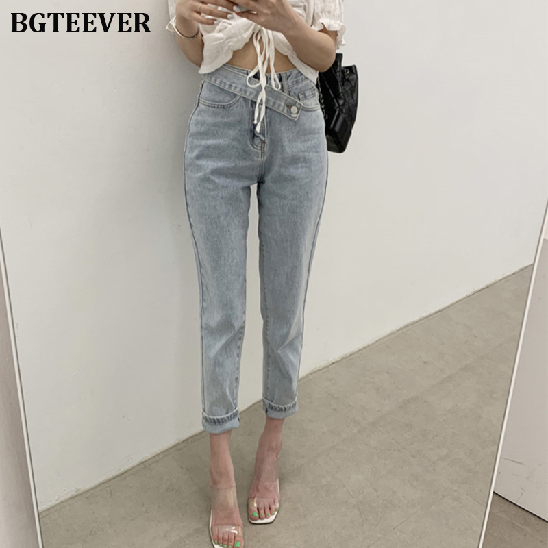 Fashion Mid Waist Button Fly Women Jeans Straight Denim Jeans For Women Streetwear Female Denim Pants 2019 Autumn