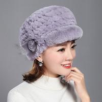 Rabbit Fur Hat Female Winter Korean Version Of The Rabbit Fur Braided Hat Thick Warm Earmuffs Bere Cap Wool Hat