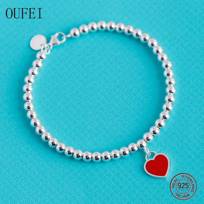 OUFEI 925 Sterling Silver Bracelet For Women High Polished Lovers Bracelet Charm Fashion Girl Gift Fine Bracelets Silver Jewelry