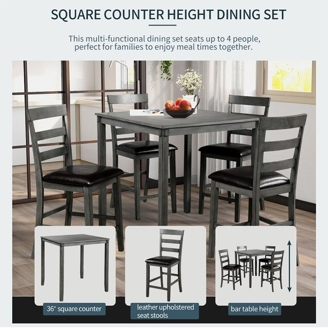 Square Counter Height Wooden Kitchen Dining Set, Dining Room Set With Table And 4 Chairs (Grey) 6