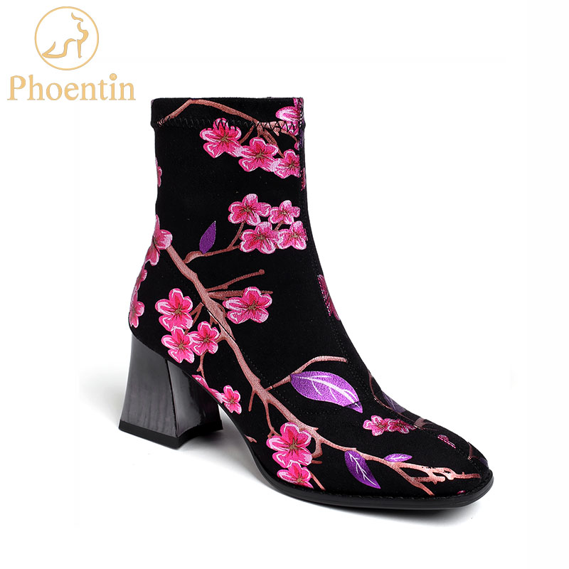 Phoentin flower printed chunky boots ankle women square toe slipon strechable booties lady mid heel shoes female plus size FT769