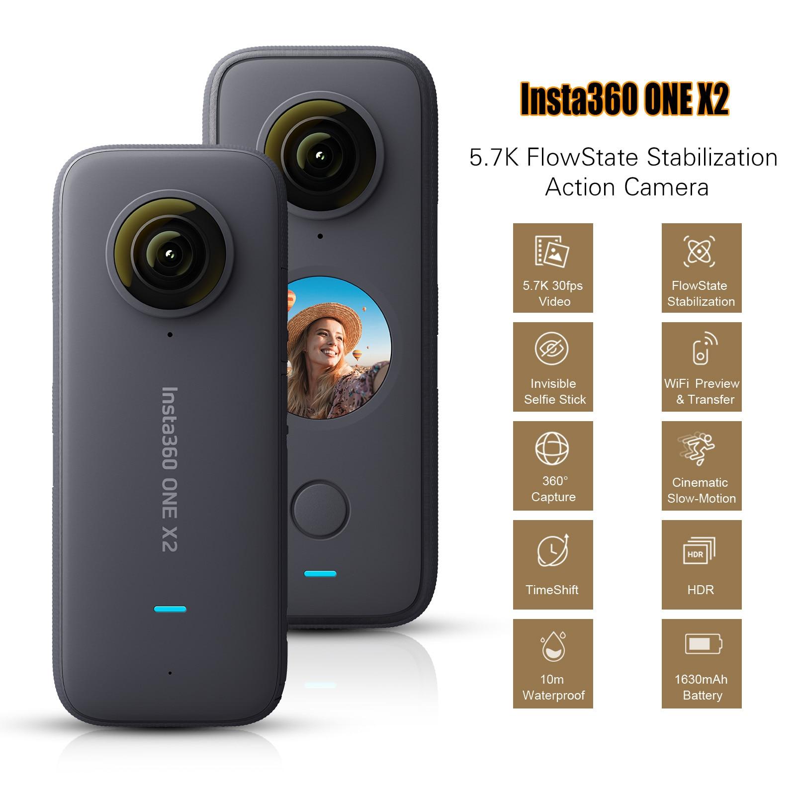 Insta360 um x2 flowstate estabilização panorâmica ação câmera 5.7k 30fps lcd tela de toque 10m corpo impermeável hdr app edição