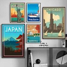 Cubierta de la ciudad de los viajes del mundo Nueva York Vietnam Vintage paisaje Posters impresiones arte de la pared lienzo pintura para la decoración del hogar de la sala de estar