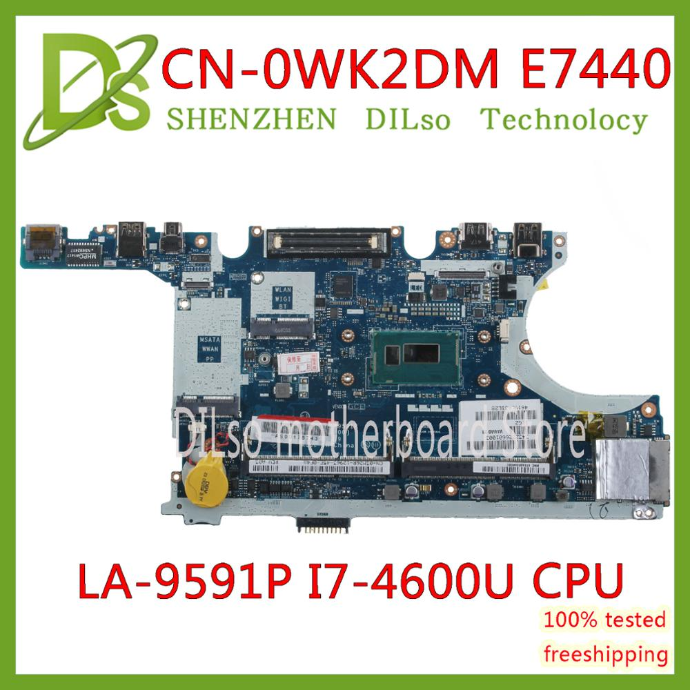 KEFU CN-0WK2DM 0WK2DM FOR Dell Latitude E7440 Laptop Motherboard VAUA0 LA-9591P <font><b>I7</b></font>-<font><b>4600U</b></font> CPU mainboard 100% Tested original work image