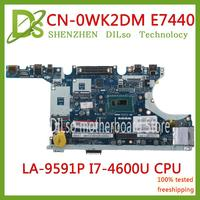 KEFU CN 0WK2DM 0WK2DM FOR Dell Latitude E7440 Laptop Motherboard VAUA0 LA 9591P I7 4600U CPU mainboard 100% Tested original work
