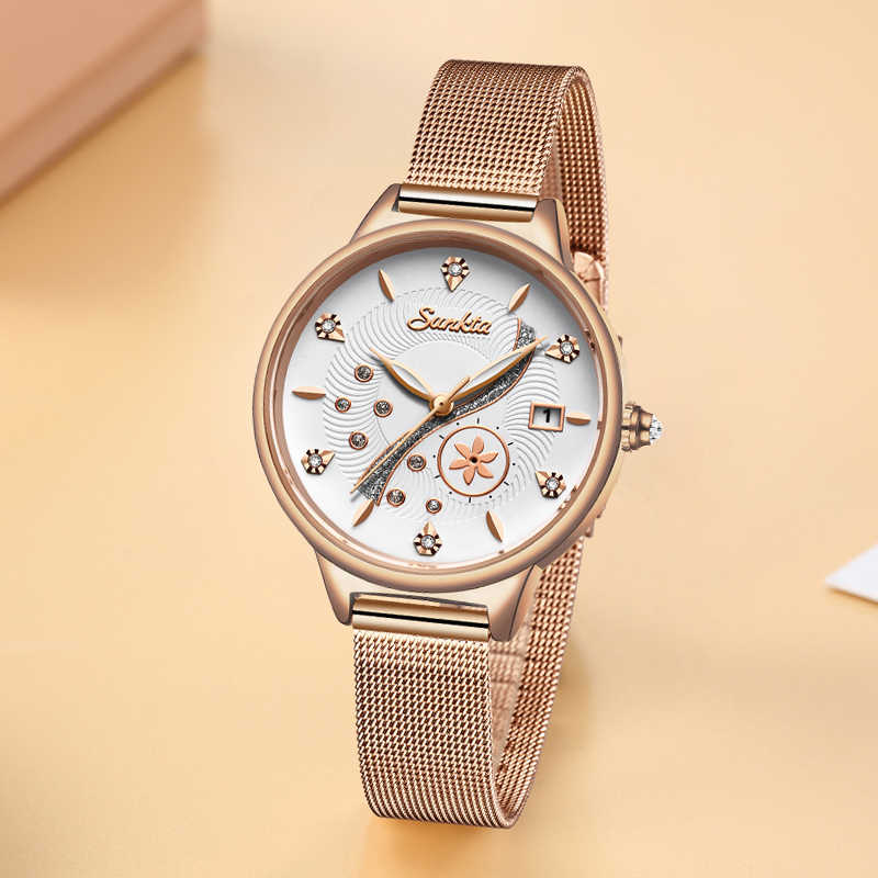 Reloj mujer SUNKTA יוקרה נשים שעונים חגורת רשת נשי שעון קוורץ שעוני יד אופנה גבירותיי שעון נשים relogio feminino