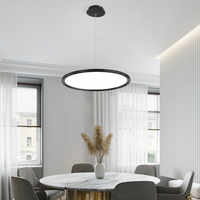 Ultra thin Dining Room LED Chandelier Black White Gold Coffee Shop Bar Hanging Light Modern Round Simple Restaurant Pendant Lamp