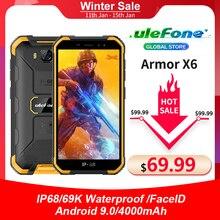 Ulefone Armadura X6 IP68 9 MT6580 Smartphones À Prova D Água Quad core Android Desbloqueio Rosto 2GB GB 4000mAh 3 16G Telefone Versão Global