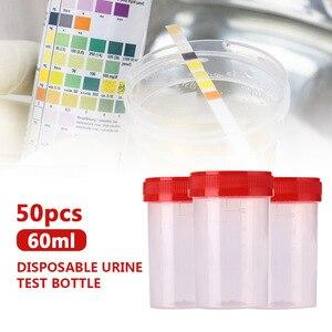 Image 5 - 50 ピース/セット標本ボトルサンプルカップ使い捨て Nosodochium 容器テスト 60 ミリリットル便利な病院検査ガラス便利なツール