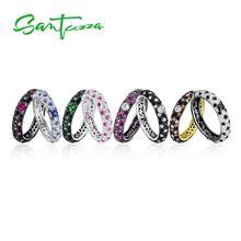 SANTUZZA srebrne pierścionki dla kobiet czysta 925 srebro wielobarwne pierścień CZ wieżowych pierścień wieczności Trendy biżuteria