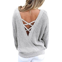 New Women's Sweaters Plus Size Back Cross Straps Long-Sleeved Sweater Autumn and Winter Solid Color V-neck Pullover Sweater цена в Москве и Питере