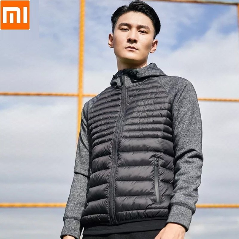 Xiaomi New Men's Stitching Sports Cotton Suit Casual Autumn And Winter Coat Men's Hooded Slim Warm Down Coat