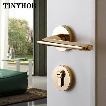 Shiny gold /zinc alloy door handle Interior / Bedroom door lock Split Silent door lock ,Door hardware