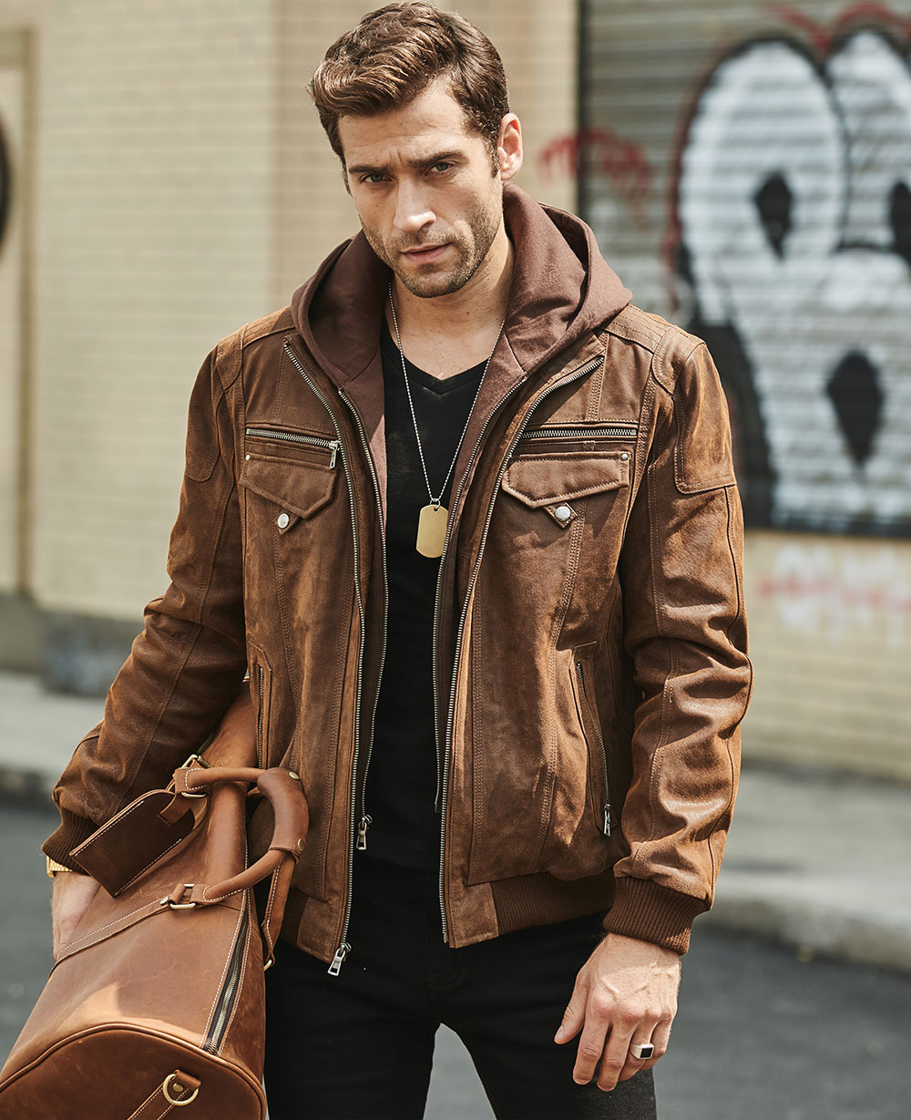Hce0073c748a246c3a191079b9f34f6b7C FLAVOR New Men's Real Leather Jacket with Removable Hood Brown Jacket Genuine Leather Warm Coat For Men
