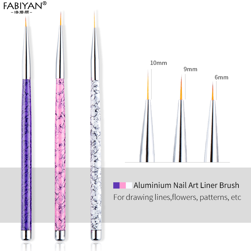 3pcs/Set 6/9/10mm Liner Brush Nail Art Painting Metal Marble Acrylic Drawing Flower Line Pen Polish UV Gel Tips Manicure Tools