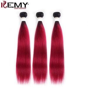 Image 3 - 1B 99J/ブルゴーニュ人間の髪のバンドル閉鎖kemy髪ブラジルストレートオンブル髪織りバンドルとともに 1 閉鎖 4 × 4 非レミー