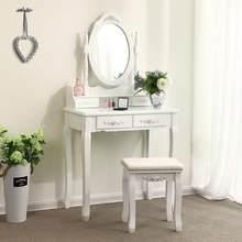 Conjunto de mesa de vaidade de madeira vestir conciso 4 gaveta com 360 rotação espelho maquiagem cômoda cadeira jóias chique organizador hwc
