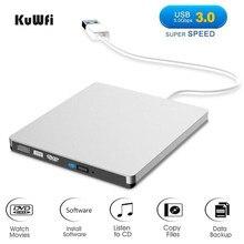 KuWFi – graveur de DVD externe USB 3.0, enregistreur, lecteur optique DVD RW, CD/DVD ROM, MAC OS, Windows XP/7/8/10, ABS, plastique