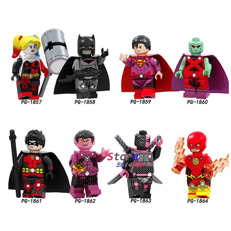 SINGLE Super วีรบุรุษ Harley Quinn Batman Superman Martian Manhunter Robin แฟลช Deathstroke Arrow Building Blocks เด็กของเล่น
